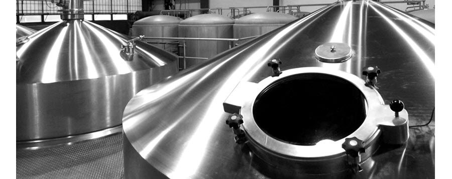 fermenting tanks in a brewery