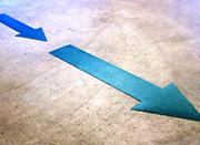 blue arrow tape on floor