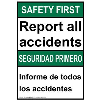 bilingual report all accidents sign