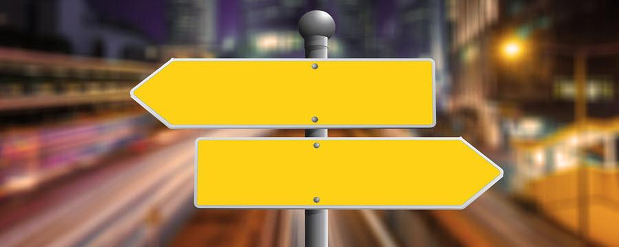 blank yellow arrow signs