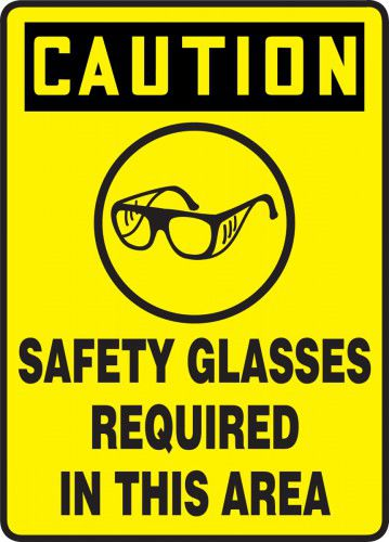 Caution Safety Glasses Required in this Area Sign
