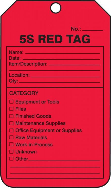 Plastic 5S Red Tag, 25 pk