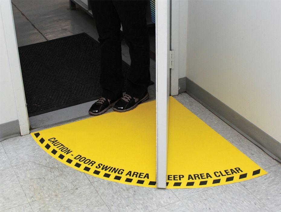 Caution HALF Door Swing Area Floor Sign