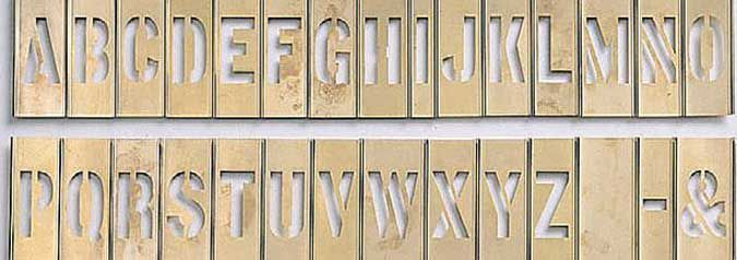 """6"""" Brass Interlocking Letter Stencil 33 Piece Set"""