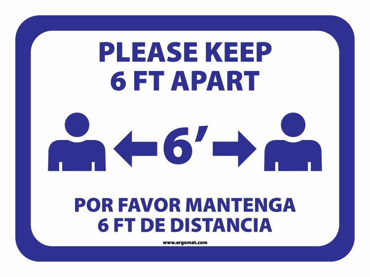 12 in. x 9 in. Social Distancing Keep 6 ft. Apart DuraStripe Sign