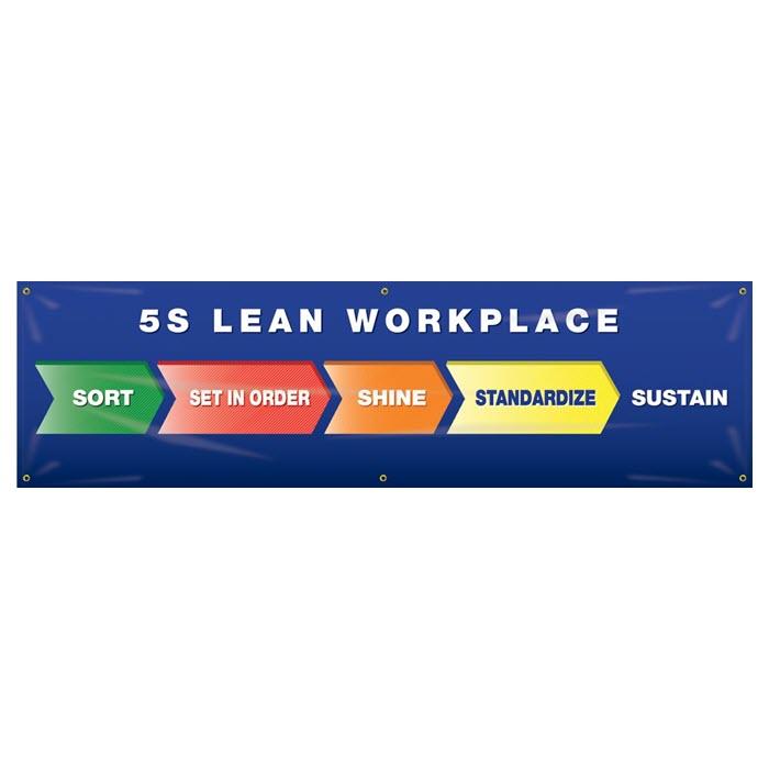 Banner: 5S Lean Workplace - Sort - Set In Order - Shine - Standardize - Sustain