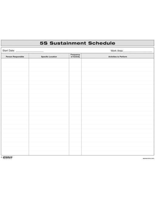 5S Sustainment Schedule Form
