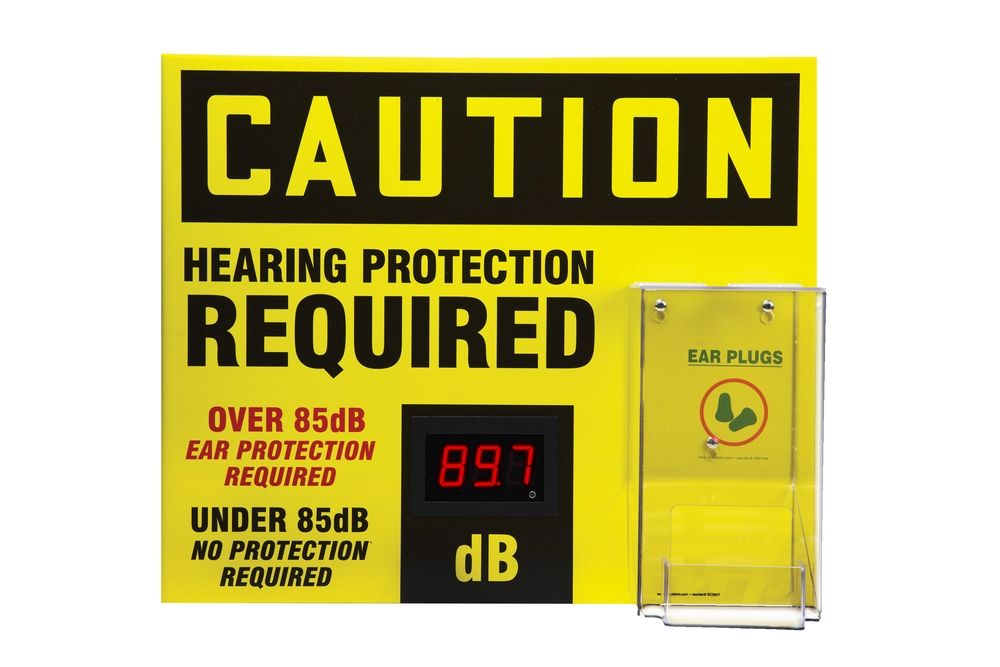 20 x 24 Caution Decibel Meter Sign - Ear Protection Required with Ear Plug Dispenser