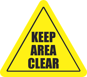 20 inch Keep Area Clear Triangle Floor Sign 40S4129-20