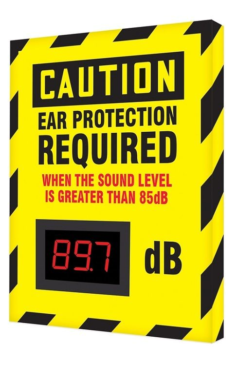 12 x 10 Caution Decibel Meter Sign - Ear Protection Required