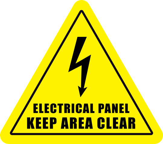 Electrical Panel Keep Area Clear Triangle Floor Sign