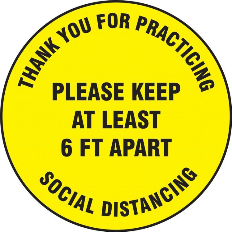 12 in. Thank You For Practicing Distancing Slip-Gard Floor Sign