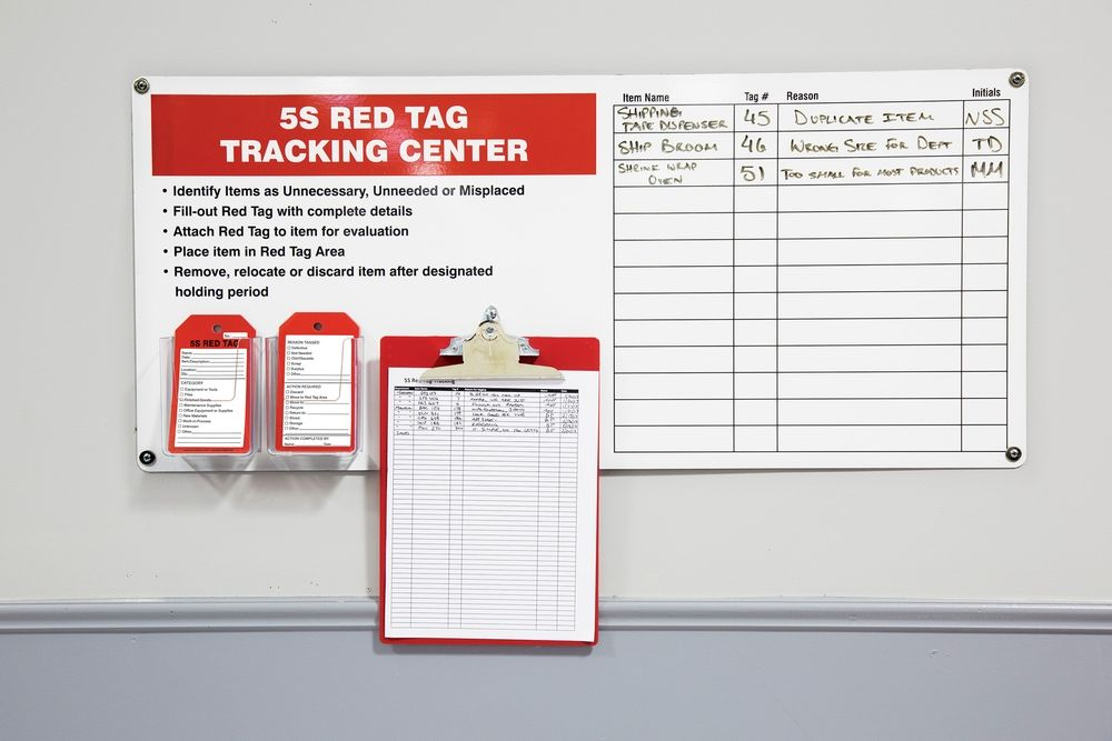 5S Red Tag Tracking Center with Clipboard 40S40C502