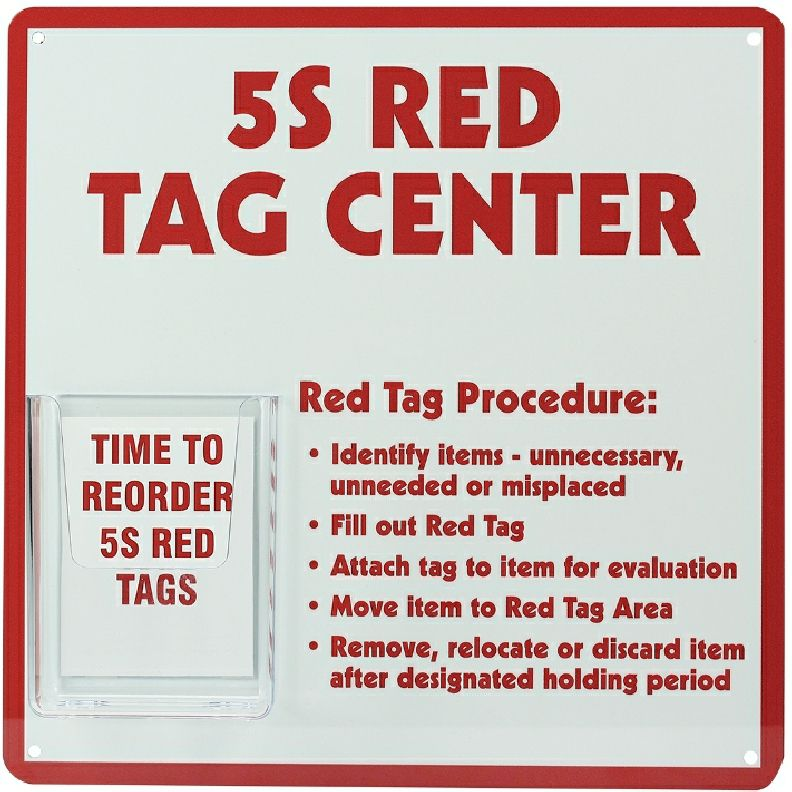 5S Red Tag Center Sign with Tags Holder