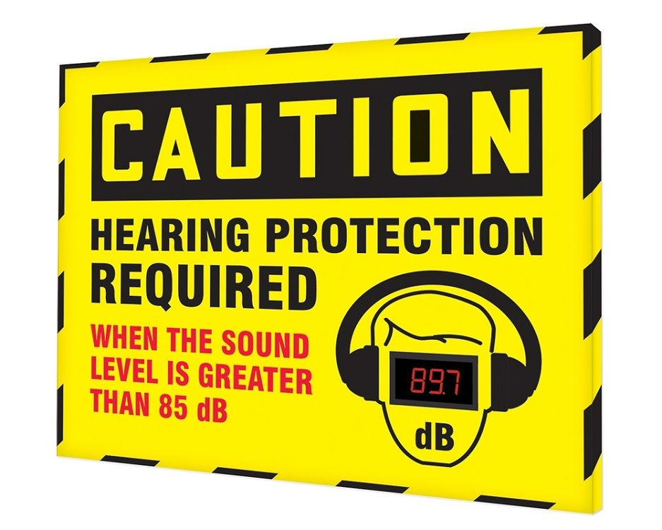 30 x 26 Caution Decibel Meter Sign - Hearing Protection Required