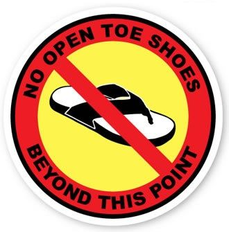 16 in. No Open Toe Shoes Beyond this Point Floor Sign 2 pk
