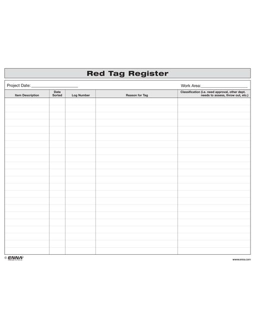 5S Red Tag Register Form 80F8002
