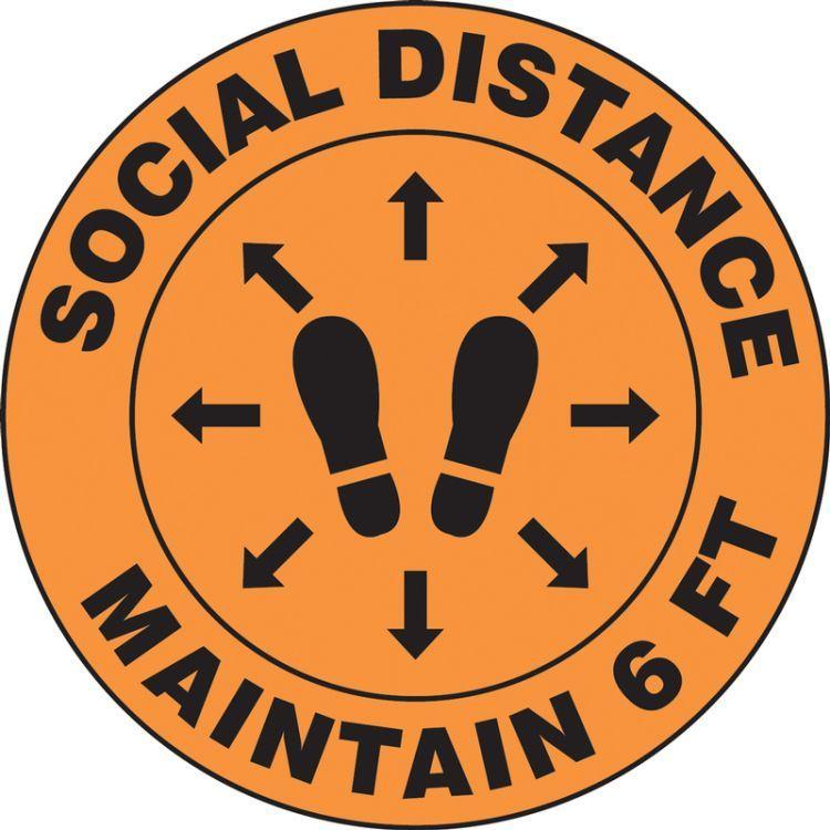 Social Distance Maintain 6 ft w/ Footprint Slip-Gard Floor Sign