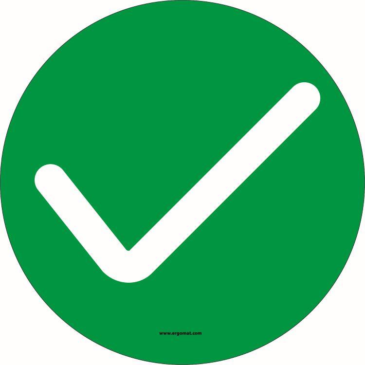 6 inch Social Distancing Circle Sign - Check Mark Symbol