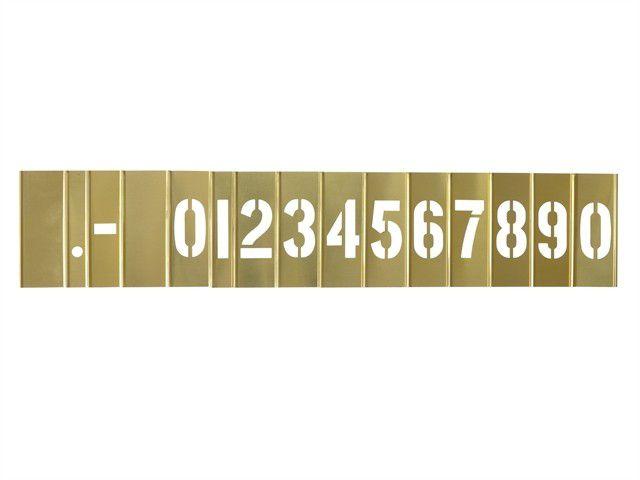 1 in. Brass Interlocking Number Stencil 15 Piece Set