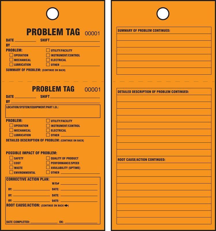 TPM Orange Tags: Problem Tag, 25 pk 50T4FCP