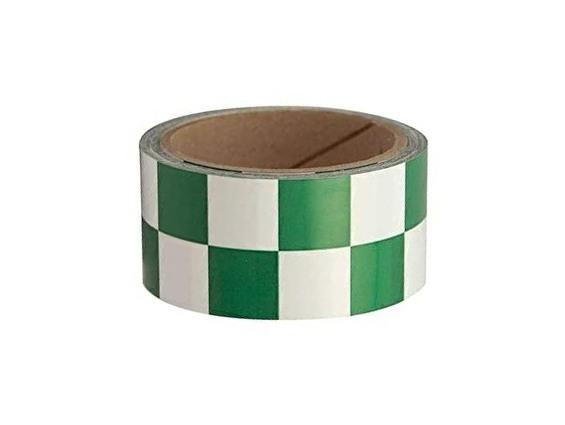 GREEN/WHITE 2 in. x 108 ft. Checkered Vinyl Floor Tape