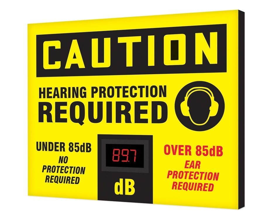 20 x 24 Caution Decibel Meter Sign - Hearing Protection Required Over/Under