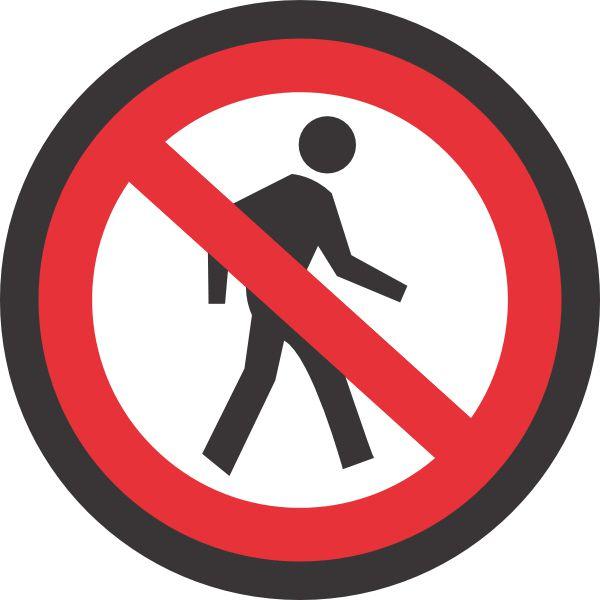 No Pedestrian Walking Sign
