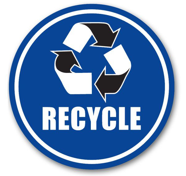 Blue Recycle Floor Sign