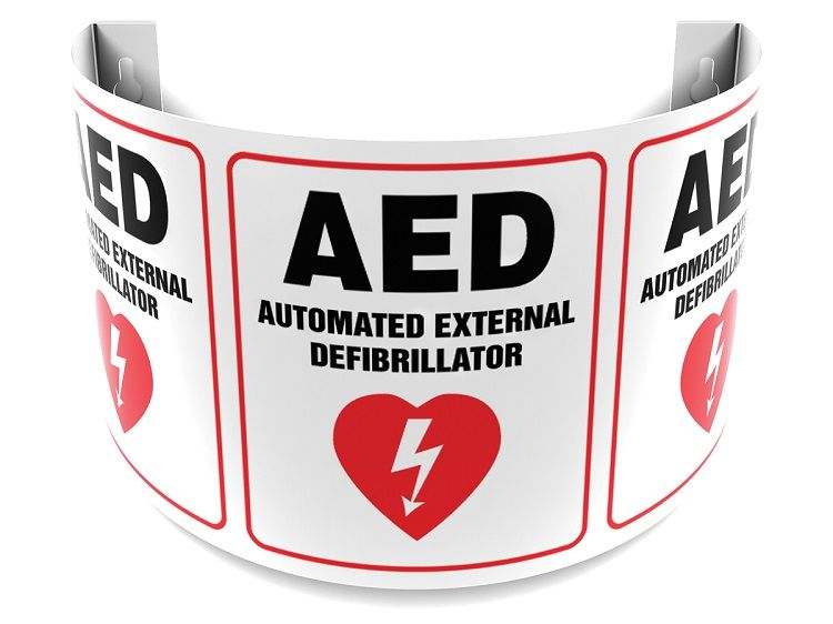 AED Automated External Defibrillator 180D Projection Sign