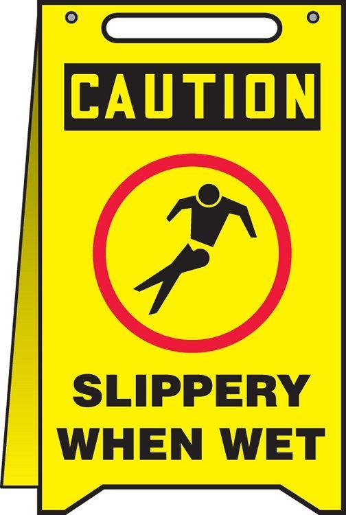 OSHA Caution Fold-Ups Safety Sign: Slippery When Wet