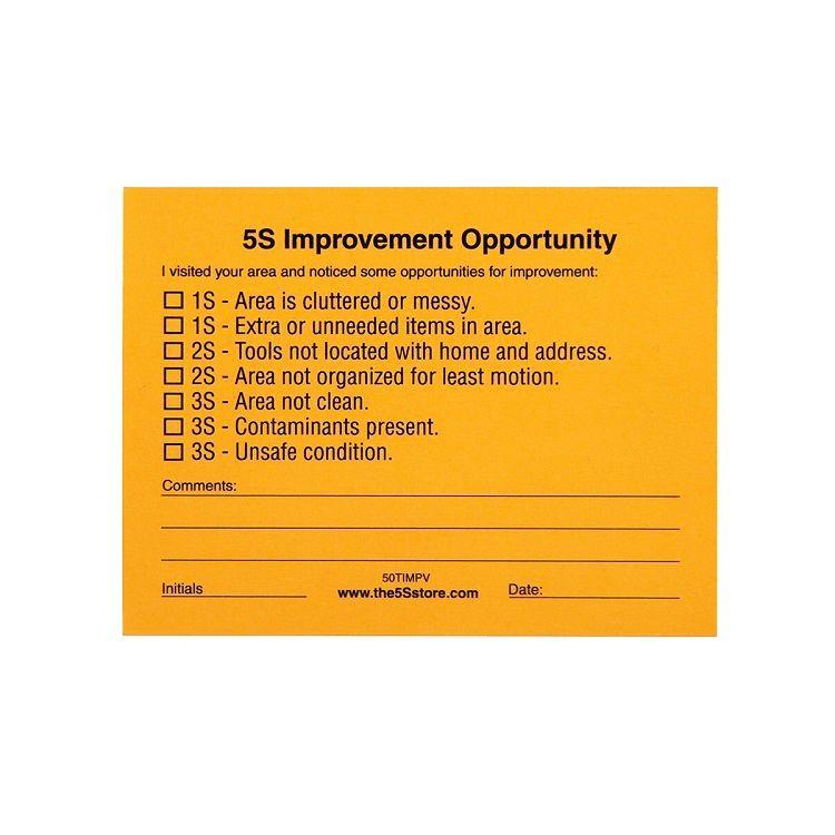 "5S Management Walk ""Improvement"" Sticky Tag 50TIMPV"