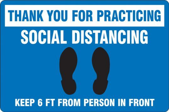 Thank You For Practicing Distancing Slip-Gard Floor Sign