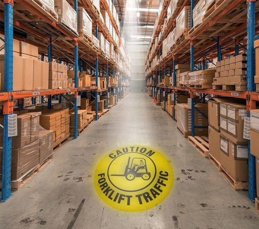 LED Floor Sign Projector - Caution Forklift Traffic