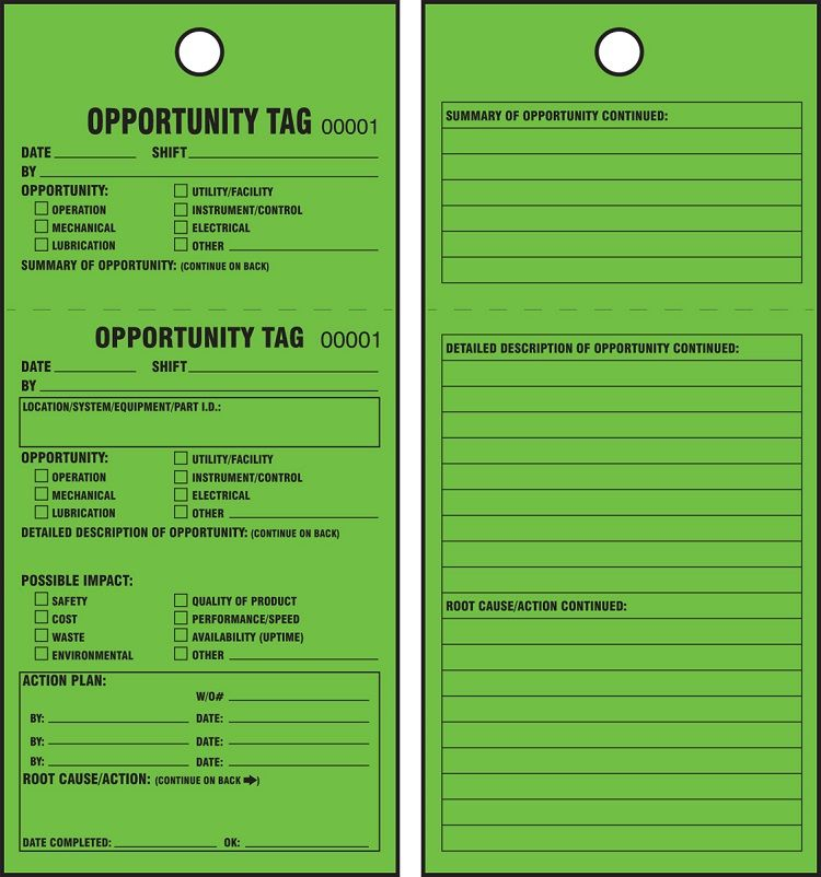TPM Green Tags: Opportunity Tag, 25 pk 50T3FCP