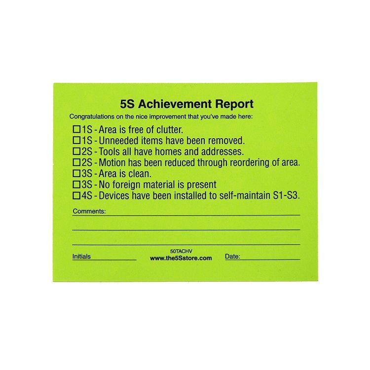 "5S Management Walk ""Achievement"" Sticky Tag"