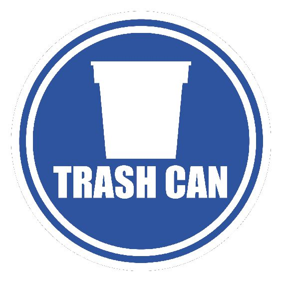 20 inch Blue Trash Can Floor Sign
