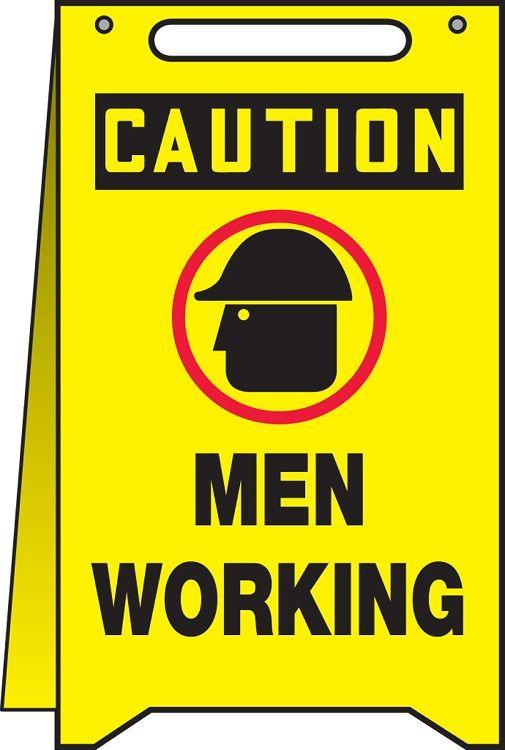 OSHA Caution Fold-Ups Safety Sign: Men Working