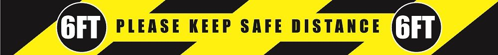 3 in. x 36 in. Social Distancing Floor Sign - 6 ft Safe Distance