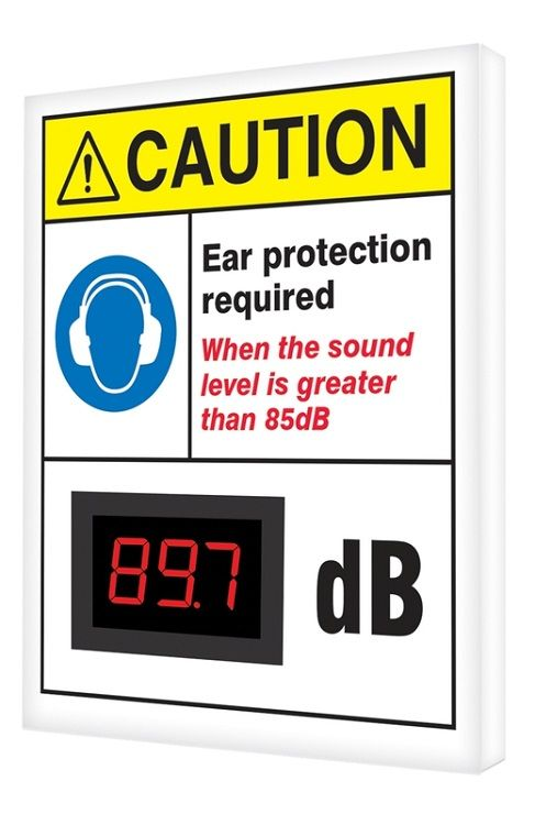 12 x 10 ANSI Caution Decibel Meter Sign - Ear Protection Required