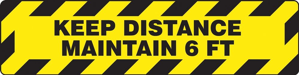 6 in. x 24 in. Keep Distance Maintain 6 ft Slip-Gard Floor Sign