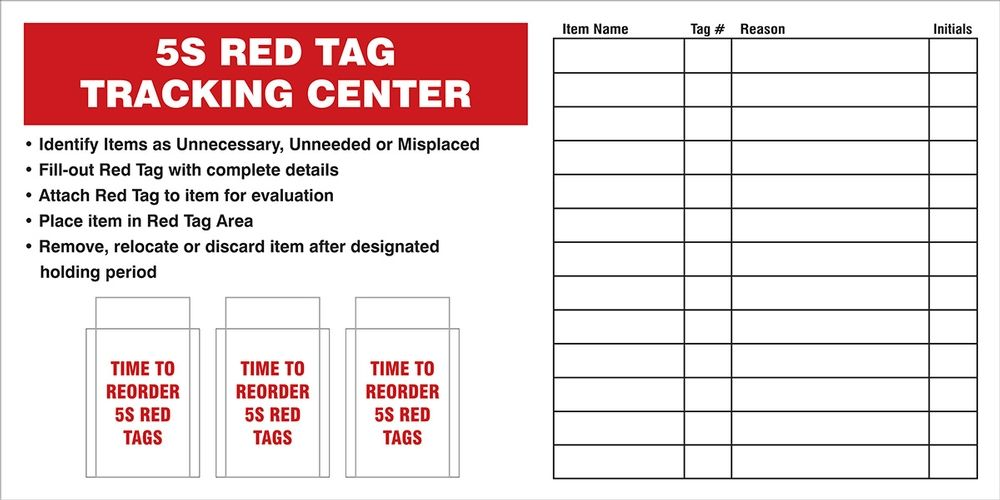 5S Red Tag Tracking Center