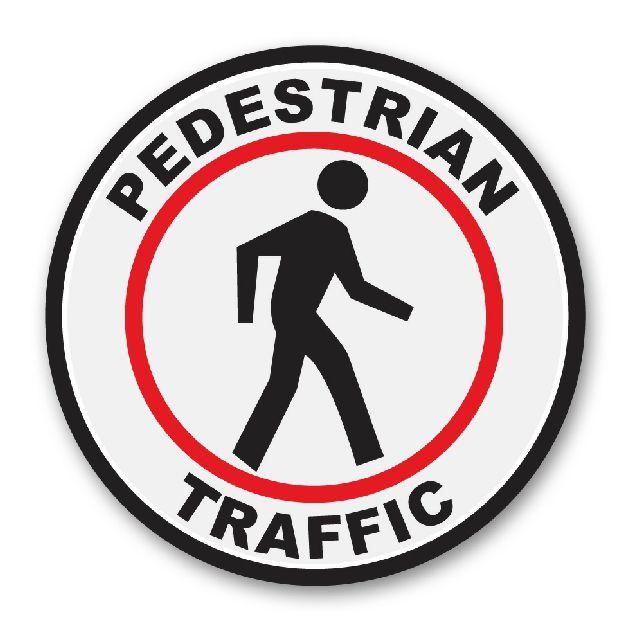 Pedestrian Traffic Circle Floor Sign