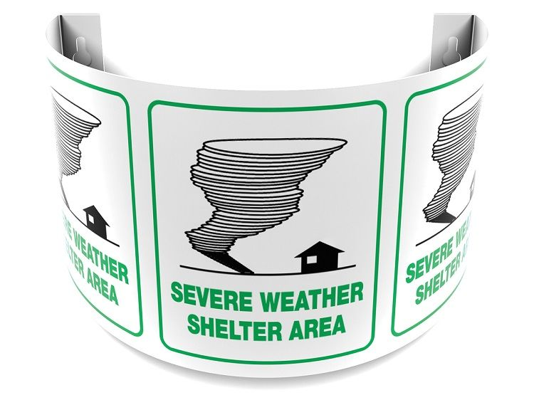 Severe Weather Shelter Area 180D Projection Sign 40SPS133