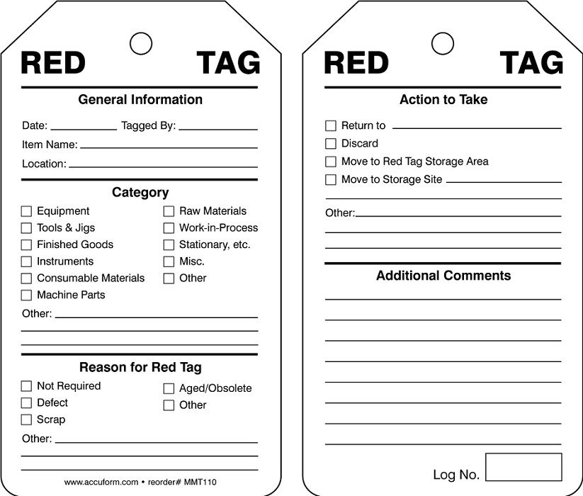 5S ISO Red Tags 25 pk