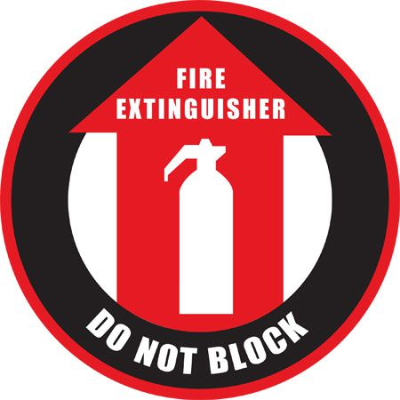 Fire Extinguisher DO NOT BLOCK Floor Sign