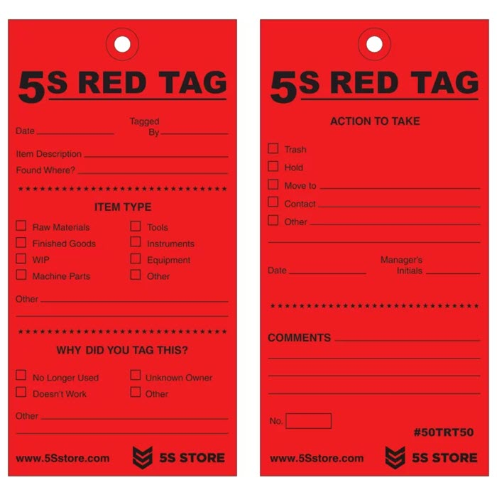 5S Red Tags w/12
