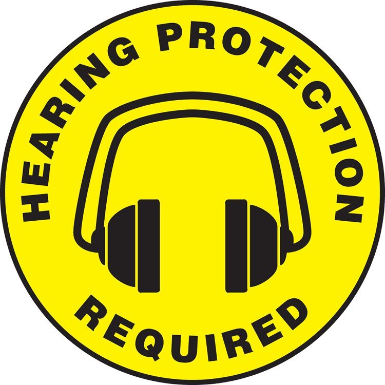 Slip-Gard Hearing Protection Required Floor Sign