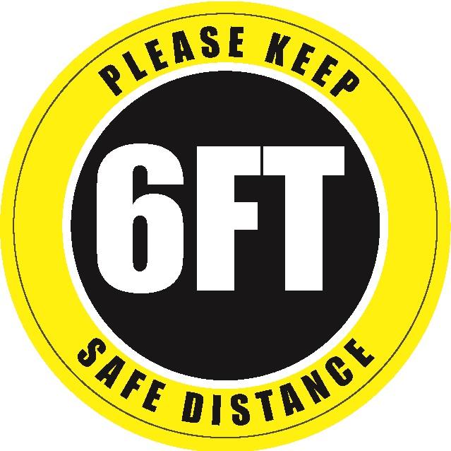 6 inch Social Distancing Floor Sign - 6 ft Safe Distance