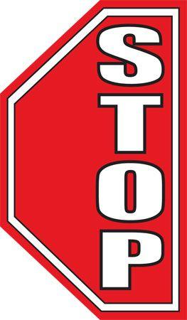 STOP Half Octagon Floor Sign